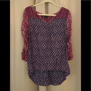 Lucky Brand floral blouse Boho 3/4 sleeve M